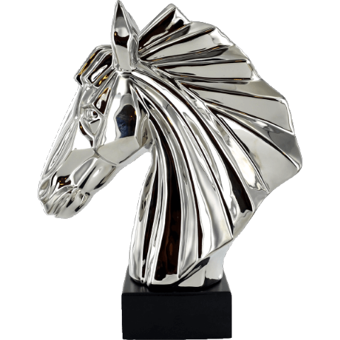 Abstract Art Horse Head Silver Ceramic Sculpture
